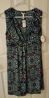 Soma Sz M Dressed Up Casual Indira Dress Sleeveless Ikat Multi Print NWT $69