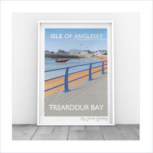 Original Illustrated print of Trearddur Bay Anglesey Sea Beach Print Only