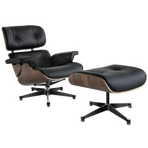 Walnut Moulded Plywood Lounge Chair and footstool Genuine italian leather black