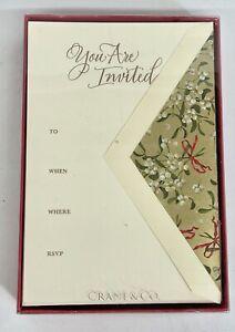 CRANE & CO Invitation Set Of 10 Cards & 10 Envelopes ECRUWHITE KID FINISH