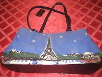 Purse Bueno Beaded Eiffel Tower Paris France Rhinestones Pocketbook Tote Handbag