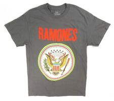 NEW 1234 RAMONES CHARCOAL GRAY HO HEY LETS GO CREST LOGO GRAPHIC T-SHIRT