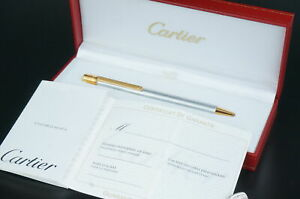 Cartier Ballpoint pen  Santos Steel color Gold Vintage w/Box #C68