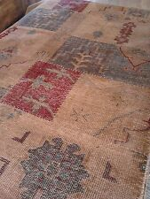 Oriental rug antique look patchwork Oushak faded color hand Knotted 6x9 Vintage