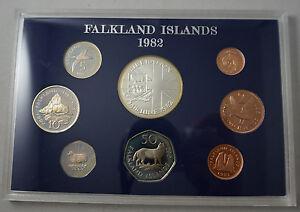 FALKLAND ISLANDS 8 Coins 1982 Proof Set w/Silver Crown KM PS5