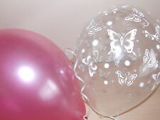 Girls Pink Clear Printed BUTTERFLY BALLOONS Ideal Christening Party Decorations