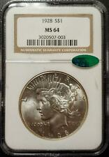 1928 PEACE DOLLAR - NGC - MS 64 - CAC CERTIFIED - #003