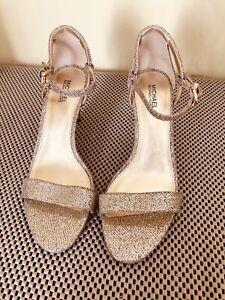 Michael Kors Gold Simone Women Dress Shoes Sandals - Size 7.5M