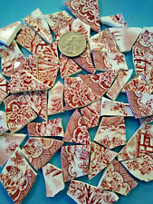 """"""" Shards Of Red Pink Toile Chintz """" Broken China Plate Mosaic Tiles Floral Cheap"""