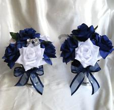 lot 6 Centerpiece Wedding table Flowers Vase Bouquet decoration Navy Blue Silver