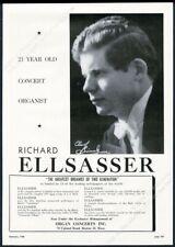 1948 Richard Ellsasser photo organ recital tour booking trade print ad