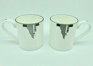 "Delightful Pair of ""Broadway"" Art Deco Style Bone China Mugs"