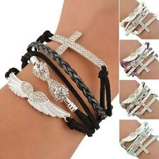 1PC Women Girls Leather Cross Angel's Wing Rhinestone Charm Bracelets Gifts