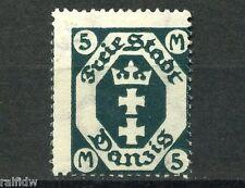 Danzig 5 Mark Wappen 1923** Wasserzeichen Fliesen Michel 124 Z Attest (S9123)