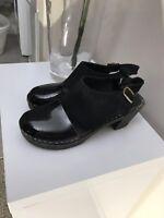 FUNKIS Black Patent Leather Swedish Clogs 37