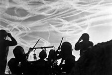 New 5x7 World War II Photo: American Soldiers Watch German Aircraft Vapor Trails