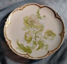 Limoges Haviland & Company Cabinet Plate - Green Poppies and Gold Trim