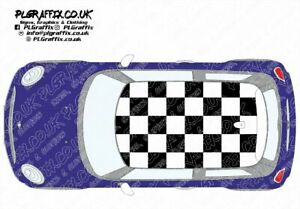 Mini chequered Roof graphics stickers decals F56 One Cooper