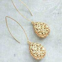 Fashion Hollow Flower 18K Yellow Gold Filled Hook Dangle Drop Women Earrings
