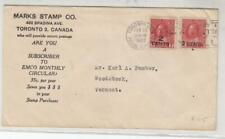 CANADA # 139-140 VF-KGV PROVISIONALS ON TORONTO-VERMONT COVER CAT VALUE $125