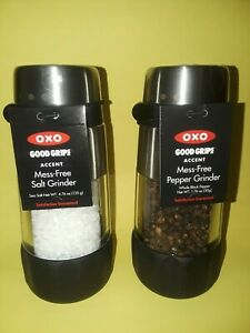 OXO GOOD GRIPS ACCENT MESS-FREE SALT & PEPPER GRINDERS~WITH TAG~$29.98~FREE S&H