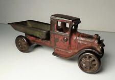"Vintage Arcade Cast Iron Red & Green Trucks Dump Truck 6"""