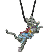 Nuevo Pin de gato Kirks Folly carrusel Colgante Collar Antiguo Silvertone con cable