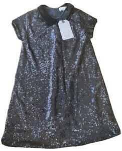 BNWT Zara 7 years girl sequin NEW party dress peter pan collar black velvet