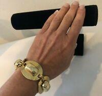 Vintage Oranium Paris France Bold Modernist Hammered Gold Tone Panel Bracelet