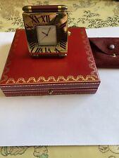 Cartier Obus Alarm travel desk clock with lapis lazuli handles Quartz Movement