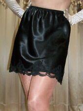 Vtg Style Short Mini Shiny Satin Lace Black Petti Half Slip 2X 46 48