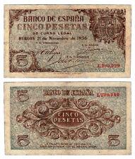 BILLETE 5 PESETAS. ESTADO ESPAÑOL. BURGOS 1936. SIN SERIE. VF+/MBC+. RARE-RARO.