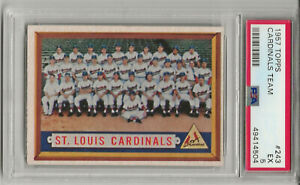 1957 TOPPS #243 ST. LOUIS CARDINALS TEAM, PSA 5 EX,  STAN MUSIAL, FRESHLY GRADED