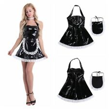 Sexy Women's PVC Wet Look French Maid Lingerie Outfits Fancy Dress Costume #XXL