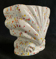 Vintage Splatter Ware Ceramic Planter Shell Form with Primary Colors Over Cream