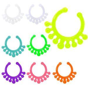 Fake Segment Ring Septum Piercing Nose Lip Earring  Vintage Neon Colours Acrylic