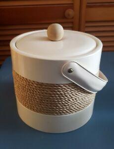 Vinyl Ice Bucket George Briard Georges Vintage Retro Mid-Century Mod Ivory White