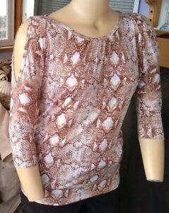 Women's   Marika   Balance Platinum  snake print   top  blouse   Medium  NWT