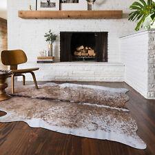 Modern Cabin Country Faux Cowhide Floor Rug Print Carpet Mat Brown Office Decor