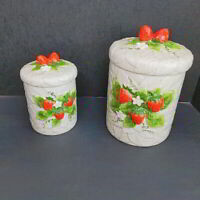 Vintage 1981 Strawberry Ceramic Canisters Sears Roebuck and Co Lot of 2