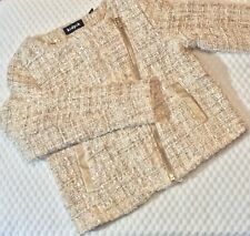 Kidpik Girls Jacket Sz XL 14 Ivory Gold Sequin Tweed Boucle  Zip Up Lined Coat