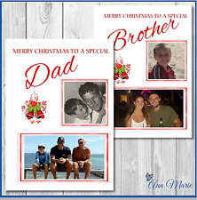 1 X PERSONALISED PHOTO CHRISTMAS XMAS CARD DAD BROTHER SON UNCLE FRIEND