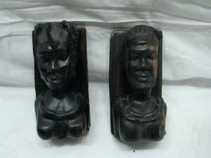 Pr Vintage Hand Carved Rosewood Bookends Native Tiki Figures African Sculpture