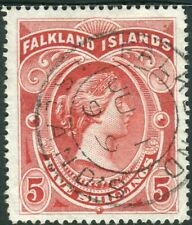 FALKLAND ISLANDS-1898 5/- Red.  A fine used example Sg 42