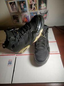 Jordan Flight Club 91 Black Metallic Gold Sneaker Size 9 555475-031