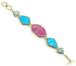 "Barse Geo Toggle Bracelet- Blue Purple Turquoise- Bronze- Adjustable toggle 7.5"""