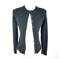 Ann Taylor 100% Cashmere Cardigan Button Down Black Long Sleeve Size Small flaw