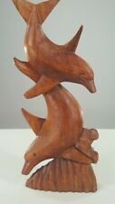 """Twin Dolphins Hand Carved From Exotic Bali Hardwood 16"""" Tall"""
