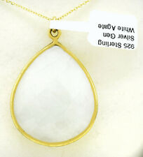 GENUINE WHITE AGATE LG PENDANT NECKLACE .925 Sterling Silver ** NEW WITH TAG **