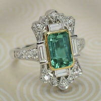 Elegant Green Emerald Wedding Bridal Chic Ring 925 Silver Jewelry Gift Size 6-10
